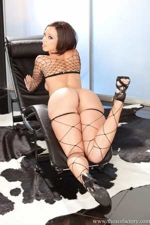Cute brunette in an all black mesh garme - XXX Dessert - Picture 8