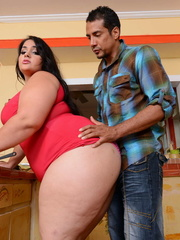 Beautiful BBW peels off her red dress and allures with - Picture 6