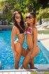 Two ebony stunners in sunglasses and tight bikini teasing by the pool