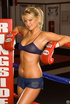 Brown-eyed blonde pugilist in cute mesh shorts proves she can handle what