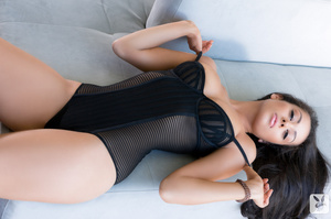 Beautiful brunette with petite body in black corset shows her sexy assets - XXXonXXX - Pic 1