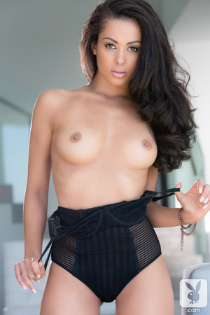 Beautiful brunette with petite body in black corset shows her sexy assets - XXXonXXX - Pic 5