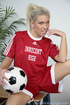 Elegant blonde in rd soccer uniform makes no mistake in sucking and fucking