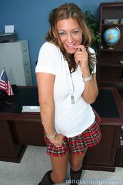 seductive brunette schoolgirl with