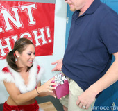 Sexy bitch in Santa suit gets her face blasted with cum after she fucks