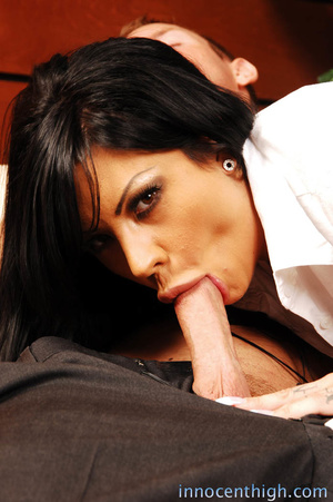 Busty tattooed girl drinks alcohol and gets mouth fucked by the principal - XXXonXXX - Pic 6