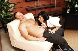 Principal drinks alcohol and fucks a brunette with big tits on his table - XXXonXXX - Pic 2