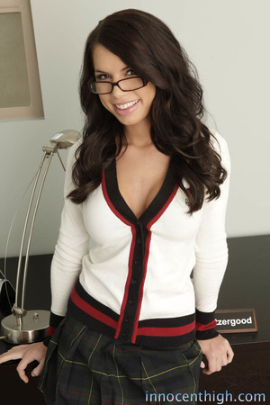 Busty brunette with glasses can't stop smiling as she fucks a long dick - XXXonXXX - Pic 1