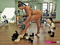 Gym slut dominates two little people for sexual - Picture 2