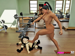 Gym slut dominates two little people for sexual - Picture 4
