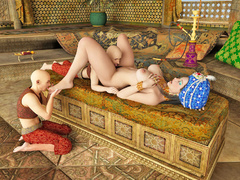 Hot queen uses her three servants as sex toys in the - Picture 3