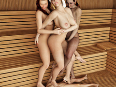 Three women in the sauna force a man to pleasure all - Picture 1