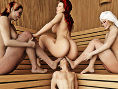 Three women in the sauna force a man to pleasure all - Picture 5