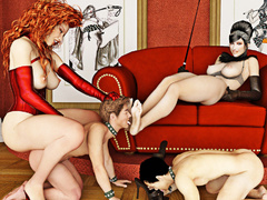 Brunette and redhead femdoms take advantage of their - Picture 2