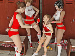 Three cheerleaders take advantage of their male - Picture 1
