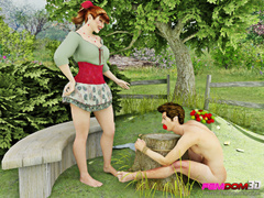 Redheaded farm girl forces the farmer to lick her - Picture 2