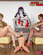 Two Dommes on elegant chairs revel in foot and pussy worship from a male
