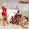 Femdom in a red dress directs three males to worship her feet, ass and