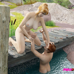 Curvy blonde catches a pervert and forces him to eat - Picture 2