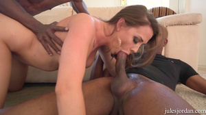 Hot brunette with pink tits fucked hard by two big black cocks - XXXonXXX - Pic 8