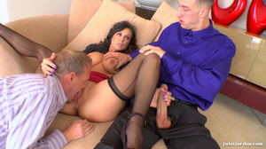 Gorgeous agent with big tits sucks and fucks her two clients - XXXonXXX - Pic 5