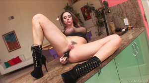 Sexy brunette babe gets a double whammy on the kitchen counter - XXXonXXX - Pic 4