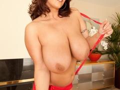 Big tittied brunette slut spreads her legs wide on - XXXonXXX - Pic 5