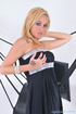 Green eyed blonde with huge hooters wiggles out black dress and pink panty