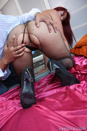Redhead cunt in black fishnet bodysuit and black heels gets her itchy pussy licked and hammered on the bed before getting facial - XXXonXXX - Pic 4