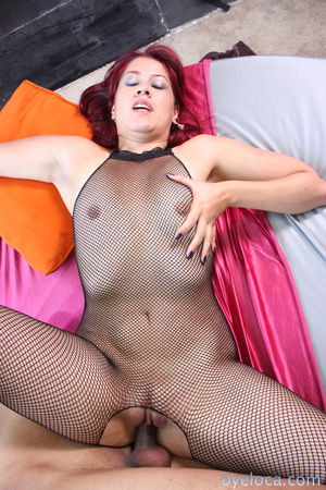Redhead cunt in black fishnet bodysuit and black heels gets her itchy pussy licked and hammered on the bed before getting facial - XXXonXXX - Pic 9