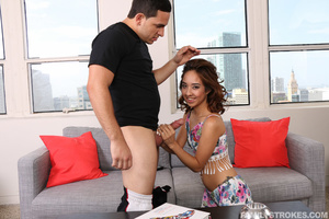 Young pretty brunette in flowery outfit sucks and screws step bro for cum spray - XXXonXXX - Pic 2
