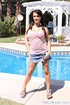 Sexy brunettes prepares for a swim but gets fucked beside the pool instead