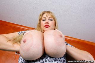 enormous blonde strips blue