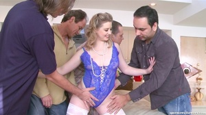 Girl in blue lace takes on five cocks at the same time. - XXXonXXX - Pic 7