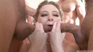 Girl in blue lace takes on five cocks at the same time. - XXXonXXX - Pic 17
