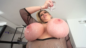 Big breasted slut gets oiled and ready for interracial fucking. - XXXonXXX - Pic 5