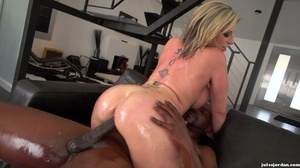 Big breasted slut gets oiled and ready for interracial fucking. - XXXonXXX - Pic 18