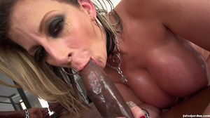 Big breasted slut gets oiled and ready for interracial fucking. - XXXonXXX - Pic 19