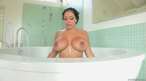 Brunette in black lingerie fucks her holes with dildo and huge cock. - XXXonXXX - Pic 1