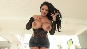 Brunette in black lingerie fucks her holes with dildo and huge cock. - XXXonXXX - Pic 3