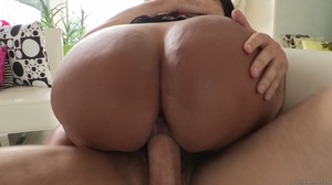 Brunette in black lingerie fucks her holes with dildo and huge cock. - XXXonXXX - Pic 15