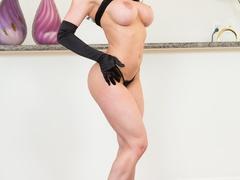 Brunette babe strips her sexy black lingerie for - XXXonXXX - Pic 8