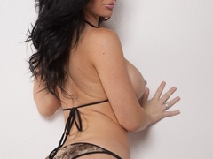 Brunette woman strips her appealing lingerie and - XXXonXXX - Pic 5