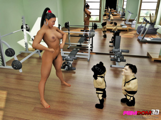After her workout, ebony babe has two little men - Picture 4