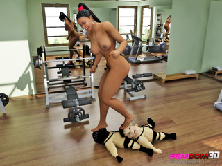 After her workout, ebony babe has two little men - Picture 5