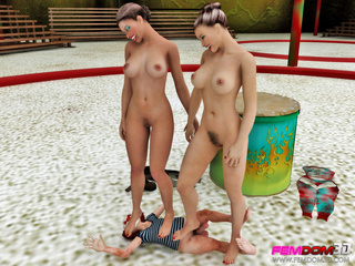 Hot circus sluts make a lick their pussies in the - Picture 4