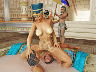 Egyptian queen gets her pussy and boobs licked by her - Picture 1