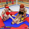 Sexy fighters pleasure their pussies in the ring with a boxer servant.