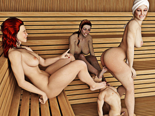 Three busty women get pleasure from controlling a - Picture 2