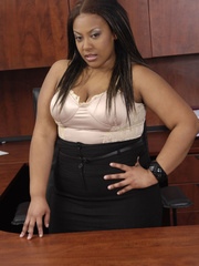 Fat office ebony slowly peels off her white blouse, - Picture 1